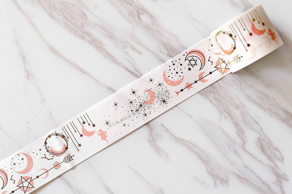 Gold Moon and Stars Banner Washi Tape /moon washi tape /gold and pink star washi tape /album emblishment
