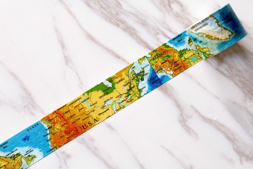 North America  Map Washi Tape/vintage canada  Washi / words map Masking tape/ japanese washi tape/Planner Supplies/OT073