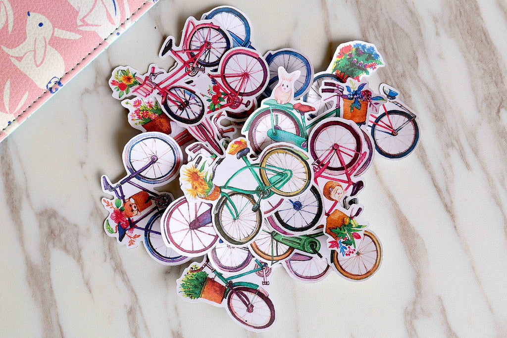 Bicycle Planner Stickers/ flowers  Stickers/ Filofax Stickers/colorful Bicycle Planner Stickers /Floral Scrapbook Sticker/cute stickers