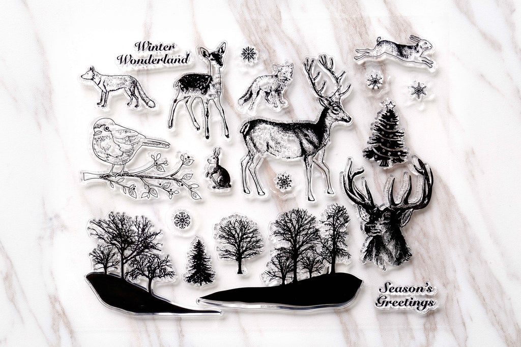 Forest Clear Rubber Stamp/animals  Clear Stamp/pine tree transparent clear stamp/deer clear stamp /rabbit clear stamp