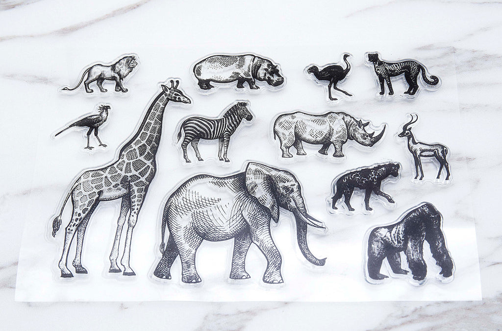 Animal Kingdom Stamp, Zoo Clear Transparent Stamp, lions  Animals Stamp, Planner Bullet Journal, Elephant, Giraffe,bird,zebra clear stamp
