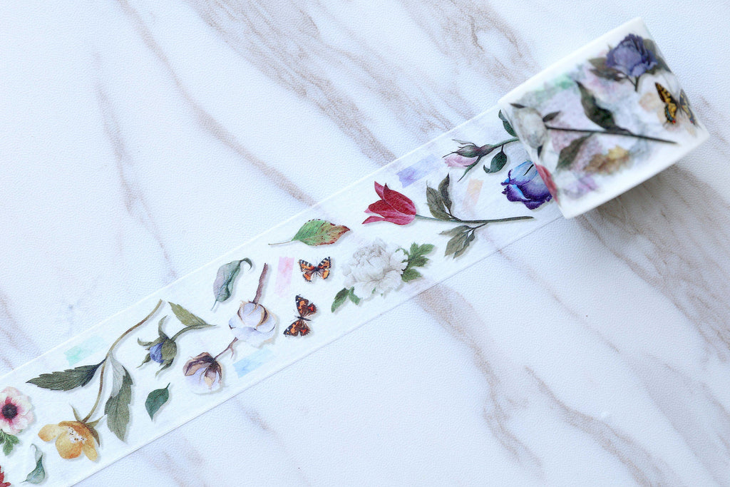 Rose with butterfly  Washi Tape/ flowers and butterfly  Washi Tapes/Japanese washi Tape/Decorative Stickers /beautiful rose and butterfly
