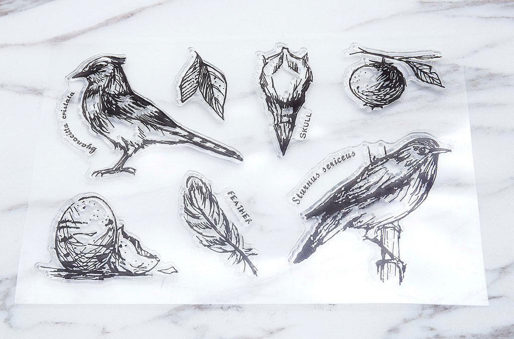 birds  clear Stamp/skull rubber Stamp/ feather clear Stamp/ Animal Stamp/ leaves clear Stamp/