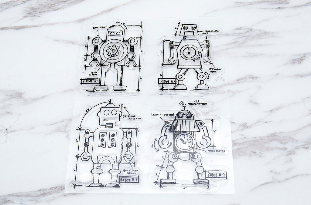 Robots  clear Stamp / Anonymous - Tim Holtz clear stamp /robots transparent stamp /rubber stamp