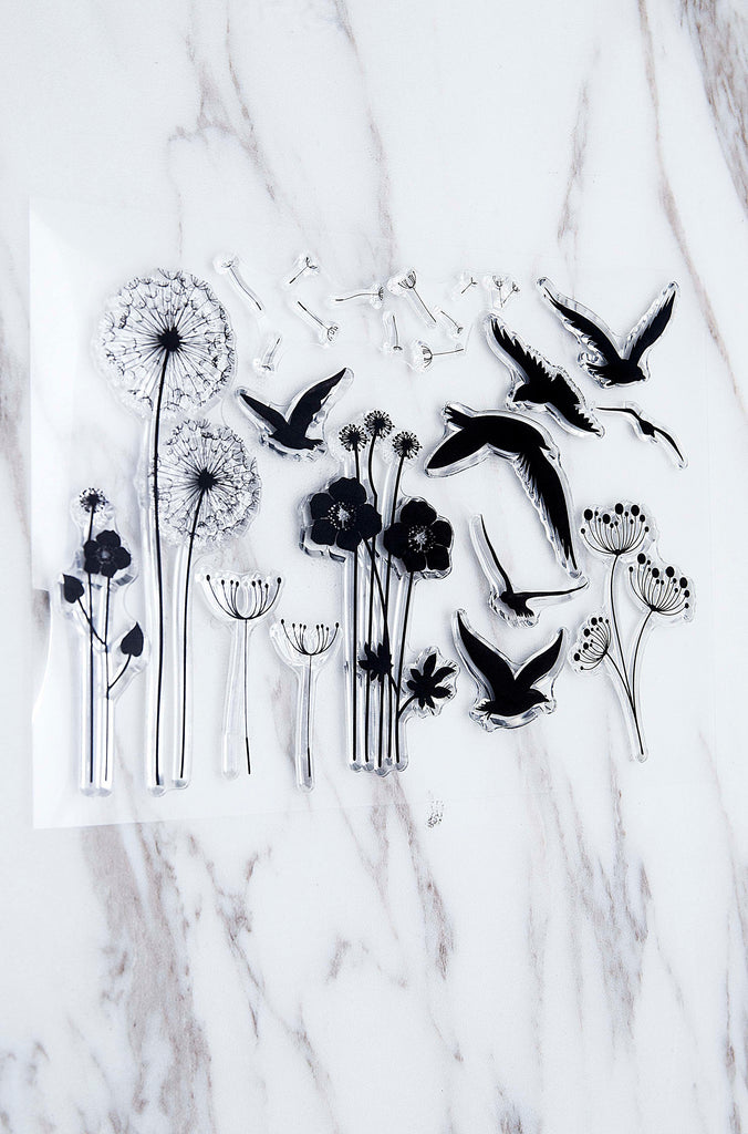 Dandelion clear Stamp/Swallow Rubber Stamp/plant  Clear Transparent Stamp/ birds clear stamp /  clear stamp
