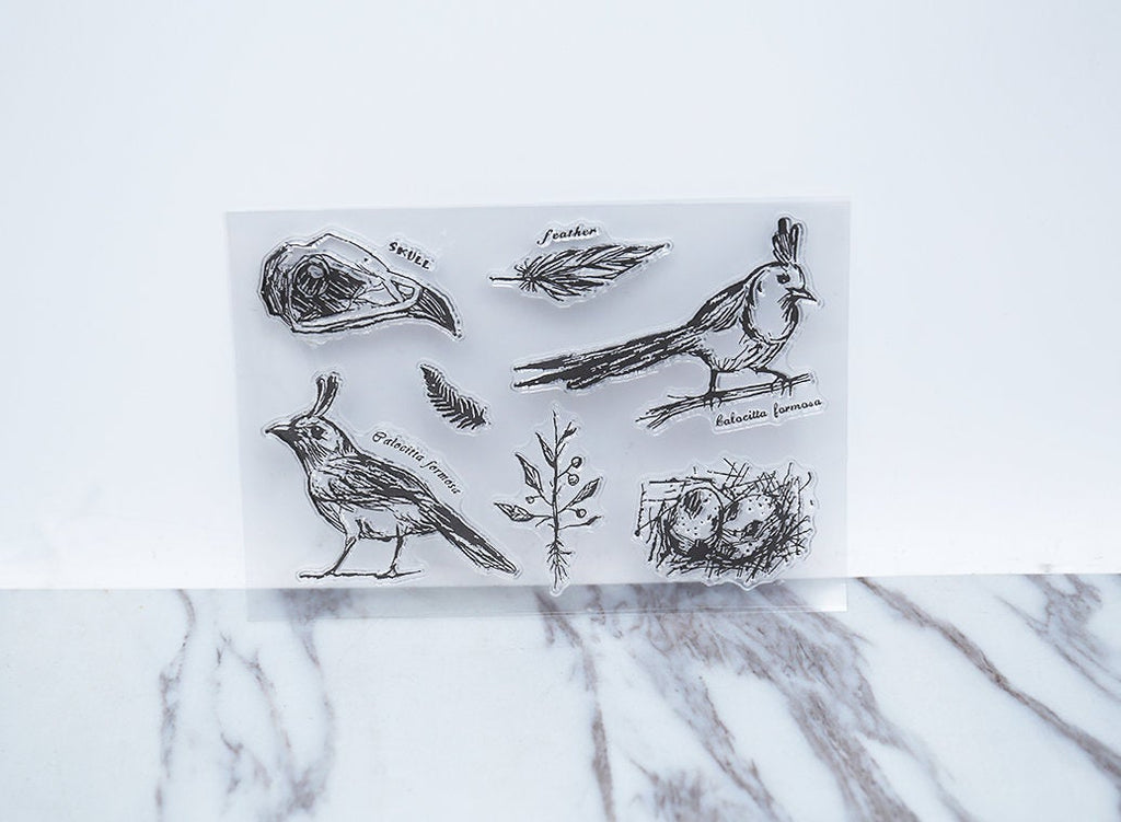 Birds  clear Stamp/skull rubber Stamp/ feather clear Stamp/Animal stamp/cute stamp/Rubber transparent clear stamp