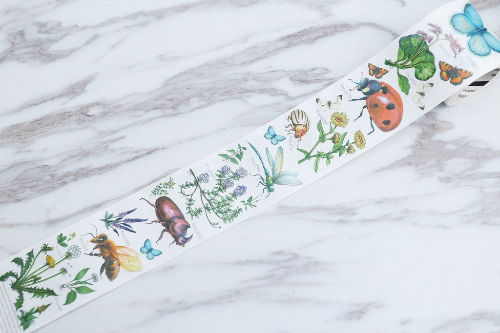 Biology illustration Washi Tape /insect and botanical plants Washi Tape /wild flowers washi tape/