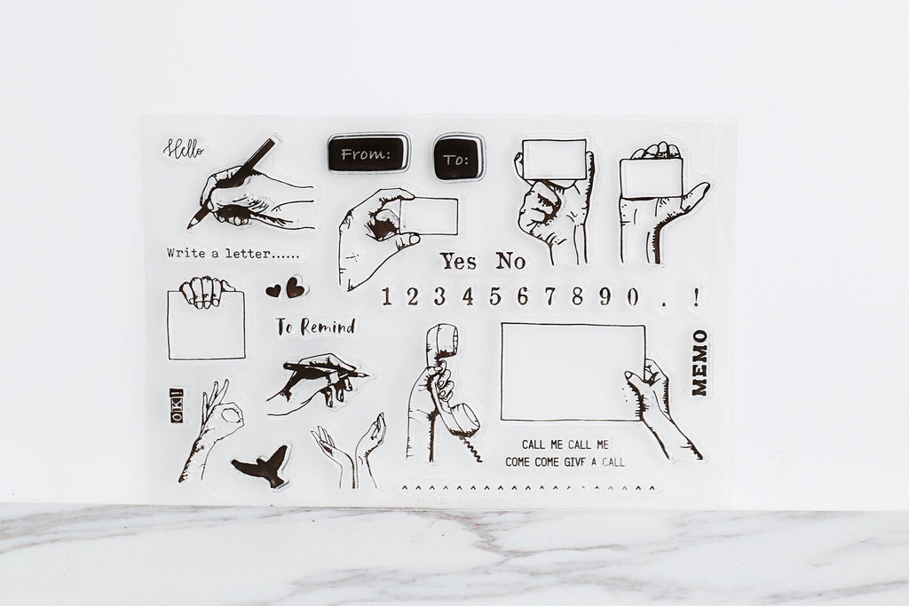 Gesture clear stamp  Stamp/Hand Holding Sign Stamp/Memo number reminder Rubber Stamp Planner Journal Accessories /Positions clear stamp