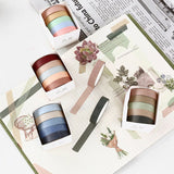 Rainbow deco Washi Tapes/5 rolls assorted color Washi Tape Gift Box/Washi tape Set/ forest Washi tape/ japanese washi tape/planner tape