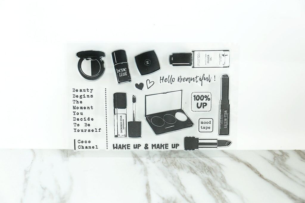 Wake up and Make up Clear rubber Stamps/Beautiful Stamps/Planner Stamps/Stamp Set/Make up Stamps/Planning accessory