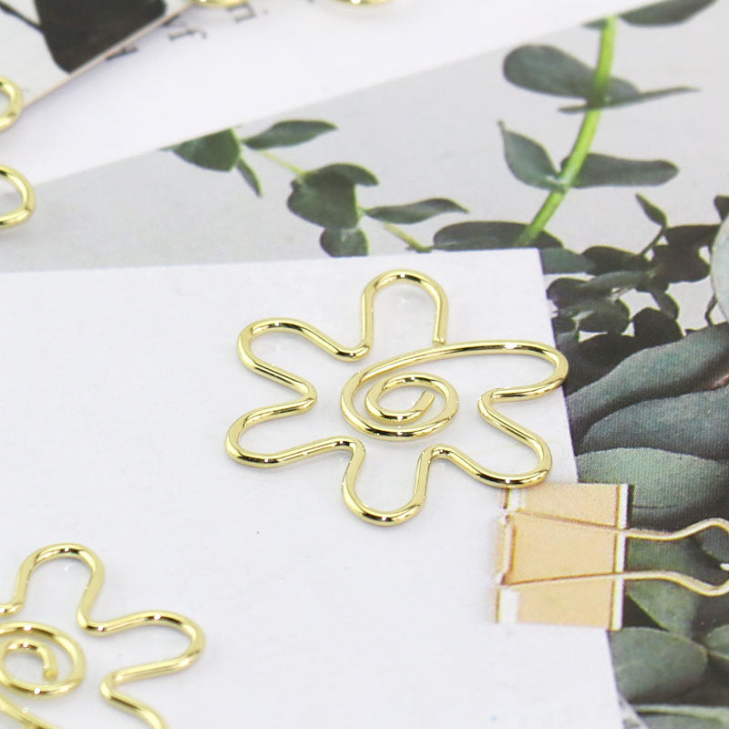 Sunflower Paper Clips,Gold sunflower Metal Paper Clip,Binder Clips,  Office Supplies,Planner Accessory