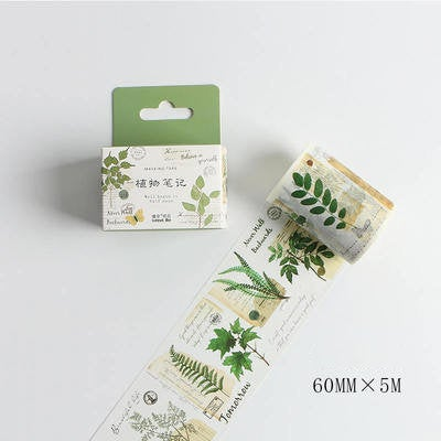Plant Note Washi Tape/Plant tape/ journal accessories/Natural tape/Masking washi tape