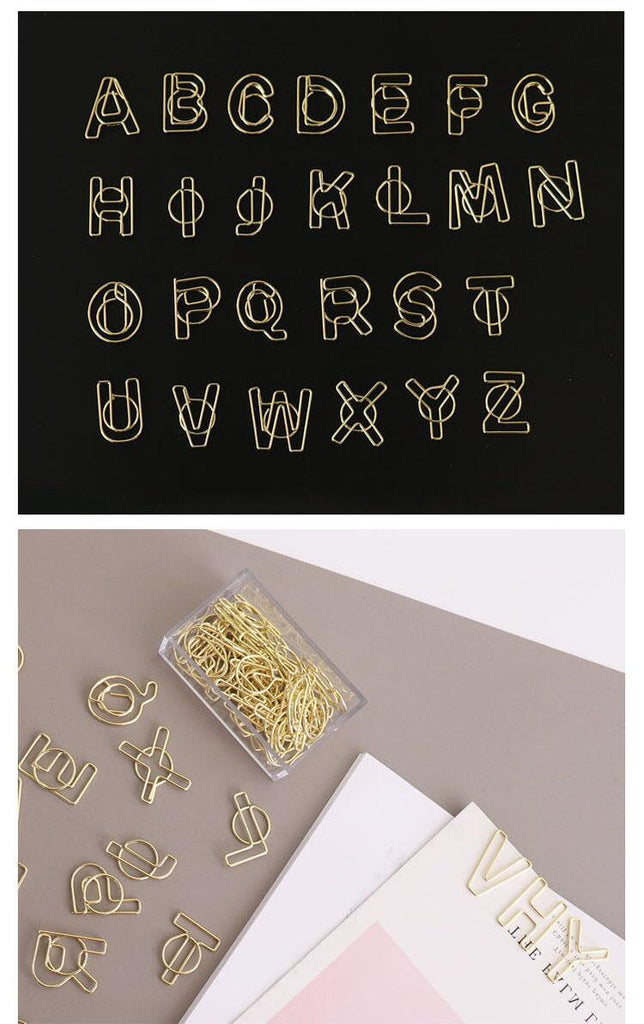26 pc Letter Paper Clips/Personalised Paper Clip/Office Supplies,/Midori Clip Planner Accessories
