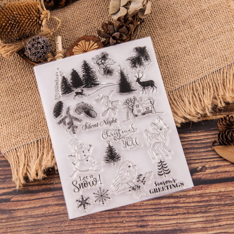 Snowy Clear Stamp/winter clear stamp/pine tree clear stamp/Transparent Clear Stamps/Happy Halloween stamp