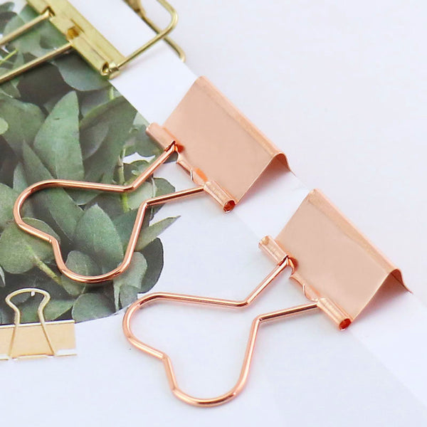 12pcs Rose gold heart binder clips, rose gold bookmarks/planner clips , Binder Clips, Office Supplies, journal supplies