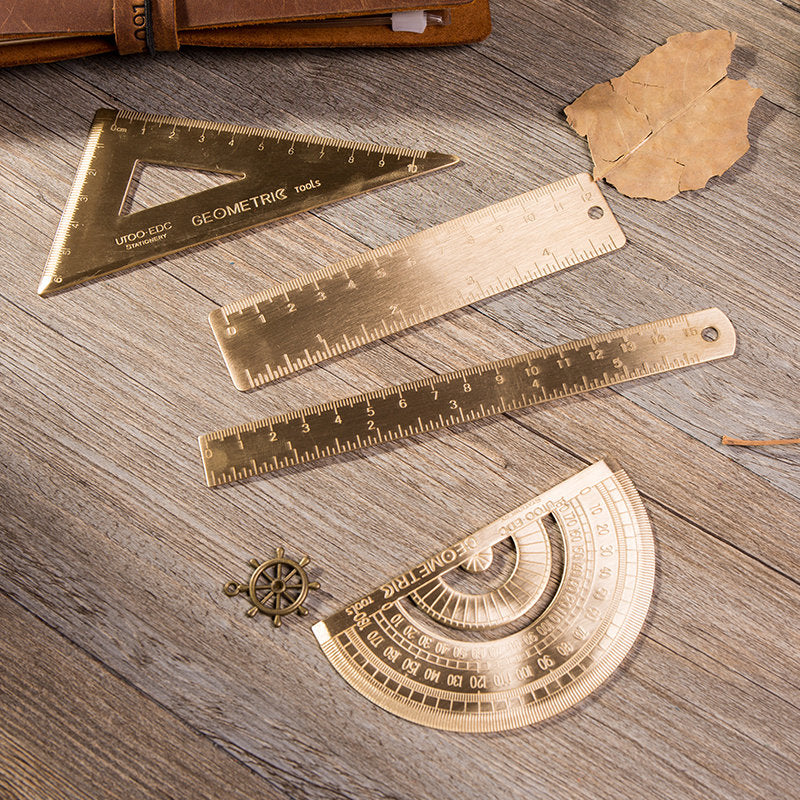 Brass Protractor Ruler /Brass Triangle Ruler/12cm ruler/ 15cm ruler