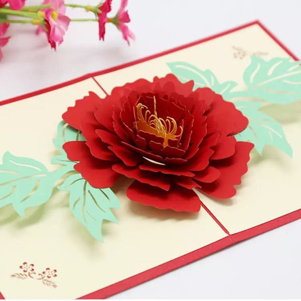3D Peony Greeting Card/Birthday Flower Pop Up Card /Thank you Card |/Flower Card /Congratulations Card /Love Card | Pop Up Peony