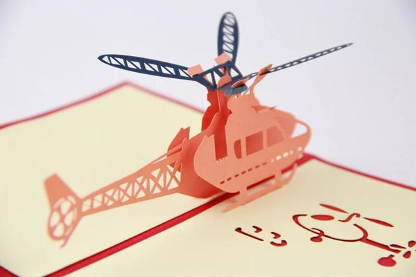 3D Helicopter Greeting Card Greeting Card For Pilot boys | Congratulations Card | Pilot Birthday Gift Card | Pop Up Card | Pop Out Card