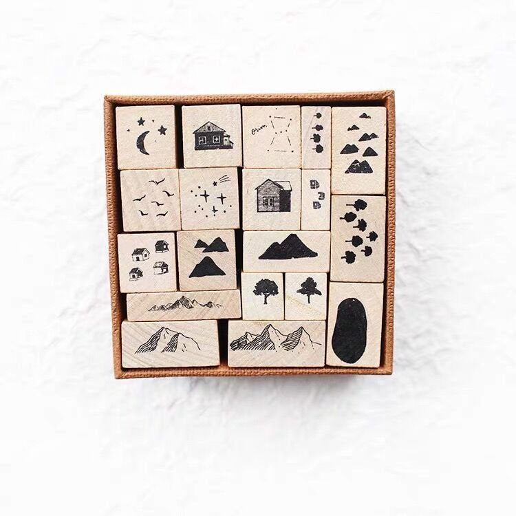 Forest tree Rubber Stamp /journaling stamp /mountain tree wood rubber stamp/pine tree