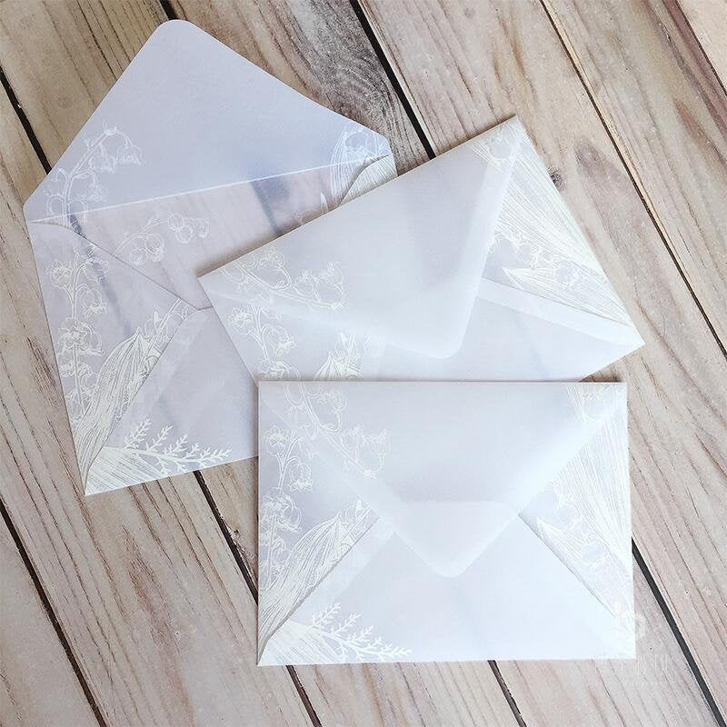 Glassine Wedding Envelope, favor envelopes, Translucent Clear White invitation envelopes