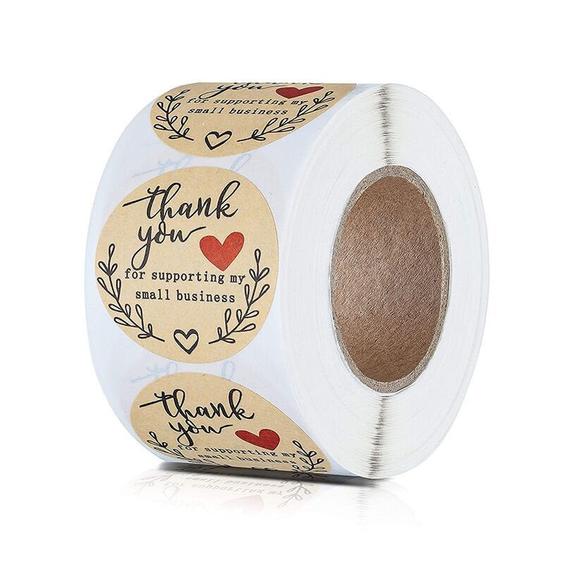 500PCS 1inch Thank You Supporting My Small Business Stickers heart  Kraft Brown Sticker Business Stickers