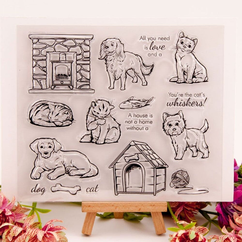 Pet dog cat Transparent rubber Stamp/dog house  Stamps/ puppy stamps/ junk journal decor/scrap booking stamp