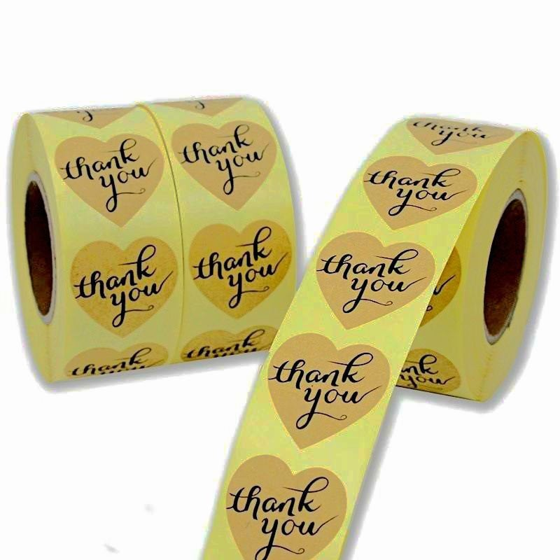 Thank you stickers heart shape/ heart stickers roll/ packaging labels stickers business/ bakery stickers/ food label 500pcs 1 inch