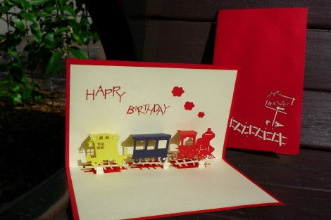 Little train Birthday,POP UP CARD