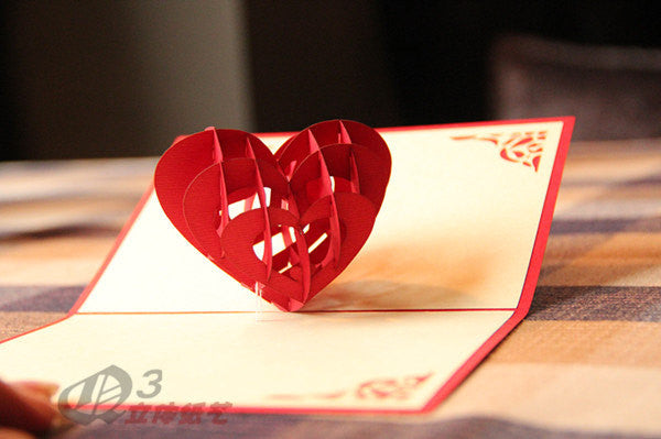 3D heart  in Pop up card