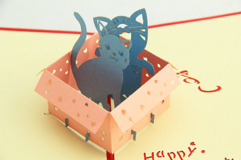 kitty in the box in  Pop up card
