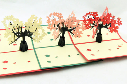cherry blossom in pop up card