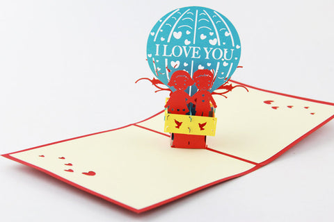 Love Hot Air Balloon 3d pop up card I love you