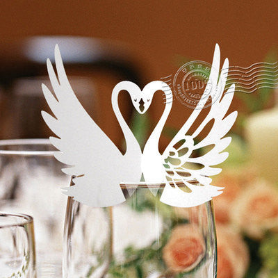 Pack of 50 laser cut  Swans  table name cards for wedding party glass of Confetti decoration/place card/escort cards