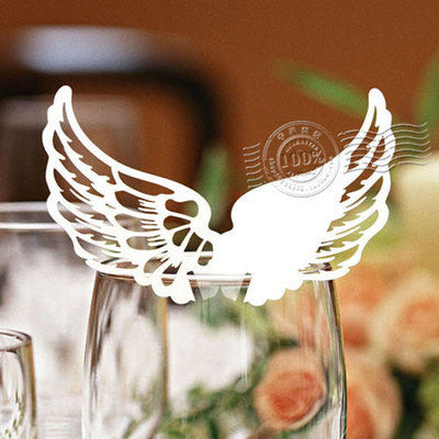 Pack of 50 laser cut  Wing  table name cards for wedding party glass of Confetti decoration/place card/escort cards
