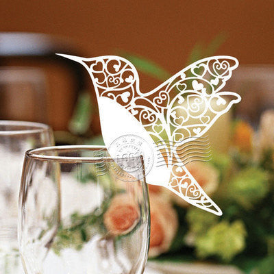 Pack of 50 laser cut bird table name cards for wedding party glass of Confetti decoration