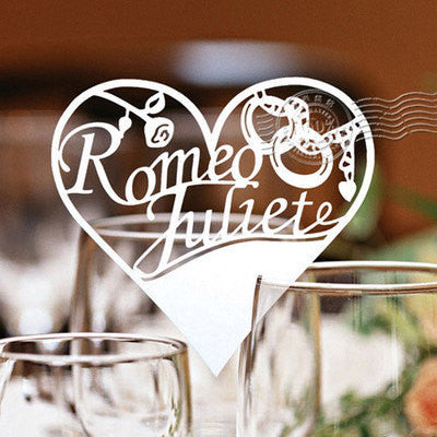 Pack of 50 laser cut Romeo and Juliet table name cards for wedding party glass of Confetti decoration
