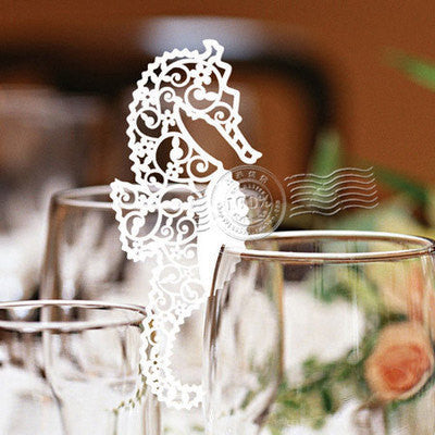 Pack of  laser cut   sea horse  table name cards for wedding party glass of Confetti decoration/place card/escort cards
