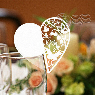 Pack of 50 laser cut  Heart 3name cards for wedding party glass of Confetti decoration/place card/escort cards