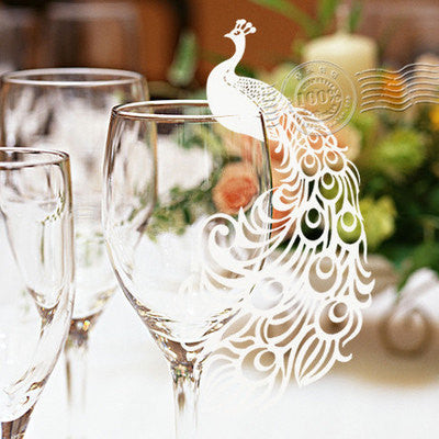 Pack of 50 laser cut  Peacock  name cards for wedding party glass of Confetti decoration/place card/escort cards