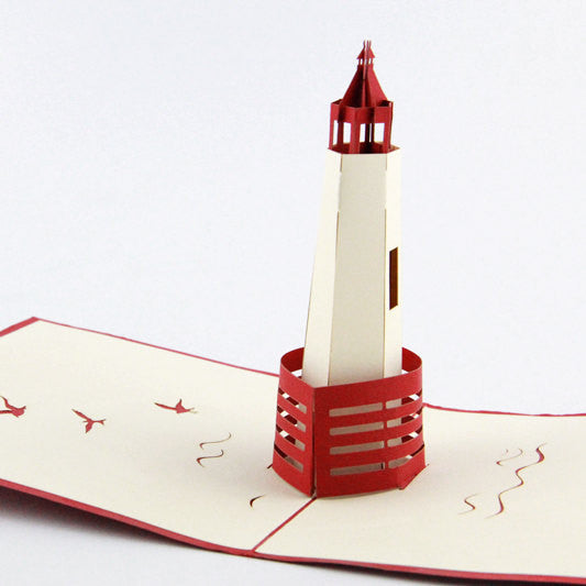 3D Lighthouse pop up card greeting card for friend wedding invitation card birthday invitation card