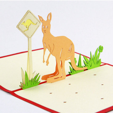 Kangaroo Australia pop up card/birthday card/ thank you card/ greeting card/Sourvior