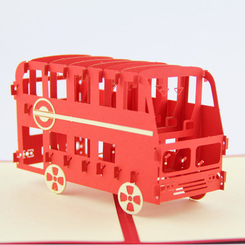 London Bus pop up card/ 3d card/ England laser cut card