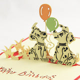 Spotty dog birthday card pop up card/ 3d card/ kid birthday card