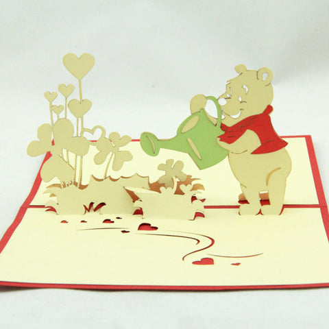 Winnie Pooh Bear  in Pop up card greeting card  3d gift card watering flower cartoon