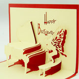 Playing piano birthday card  POP UP card 3d card piano card