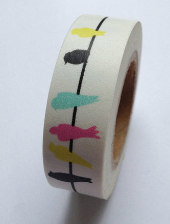 Colorful Bird Washi Tape  Birds On Wire Wedding Decor Tape Birdseed Favor Craft Gift Wrap TP003