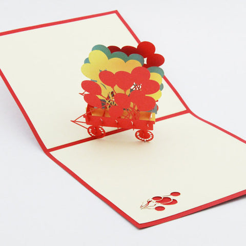 Balloon birthday card  pop up card -greeting card 3d laser cut general card