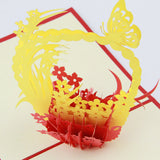 Basket flower thank you card  pop up card -greeting card 3d laser cut  butterfly within flora card