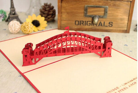 Sydney harbour bridge pop up card -greeting card 3d laser cut Australian gift