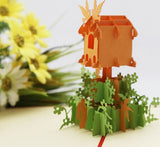 Bird Nest with flowers- pop up card- 3D handmade cards bird house card